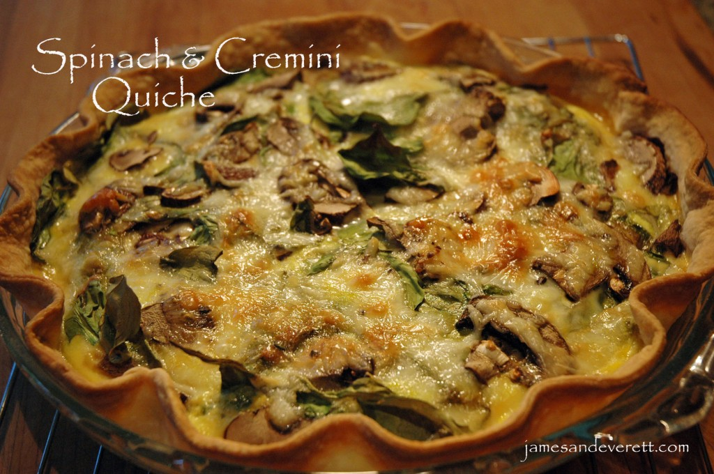 breakfast, lunch, or dinner, this spinach and cremini mushroom quiche ...