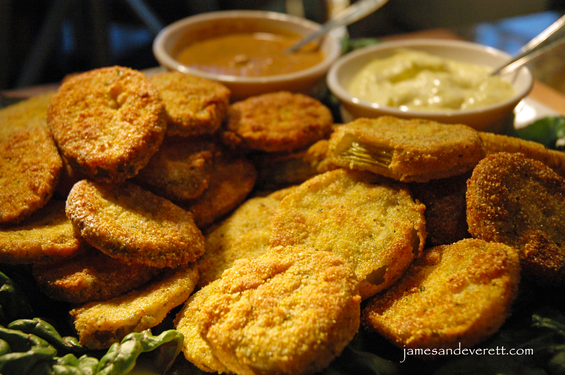 Fried green tomatoes and dill pickles with Creole mustard and garlic ...